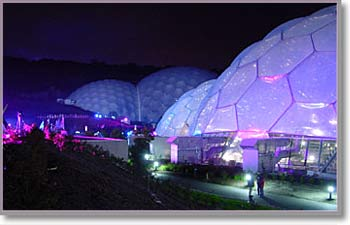 Eden at night- but you won't see it like this.  This was especially lit for BBC's Proms in the Park in September.